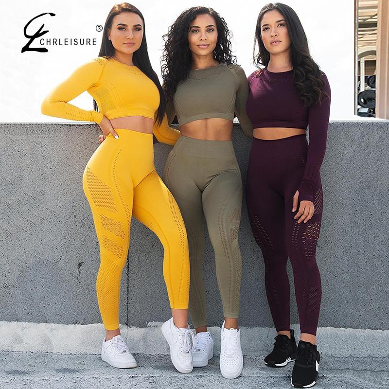 Women's Fitness Two-Piece Solid Long Sleeve Tops +leggings Set Gym High Waist Workout Suit Feamle