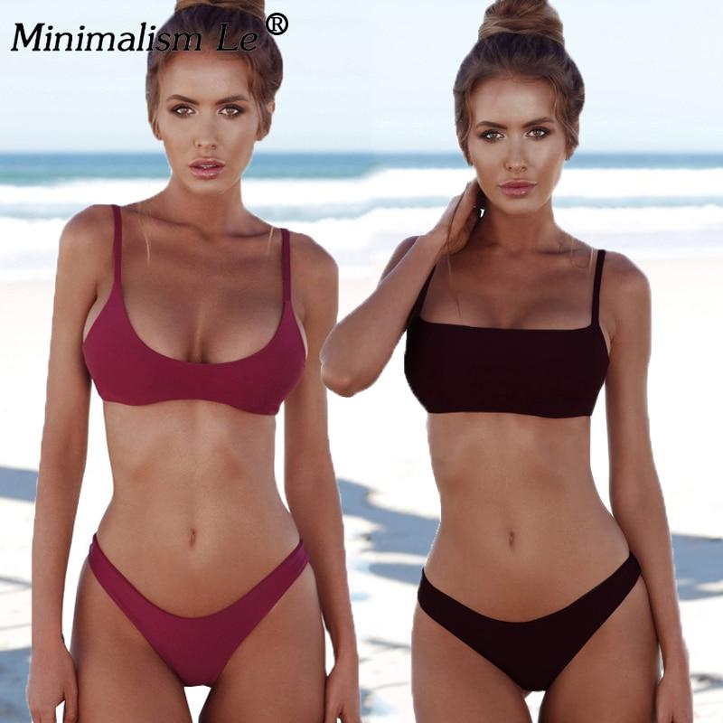 Woman Solid Sexy Bikini Set Micro Summer Tube Top Swimwear Low Waist Bikinis Beach Wear Female Retro Swimsuit Bathing Suit