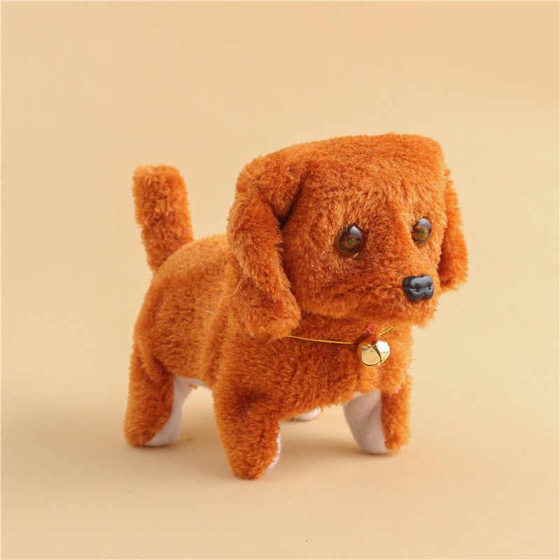 크리스마스 선물 전자 개 대화 형 전자 애완 동물 로봇 인형 개 나무 껍질 스탠드 어린이를위한 전자 장난감 개 도보 20CM