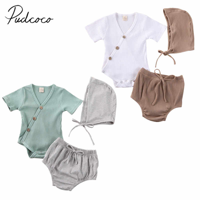 2020 Baby Summer Clothing Infant Baby Cotton Romper 3Pcs Outfit Ribbed Sleeveless V Neck Romper Tops Striped Short Pants Cap Set