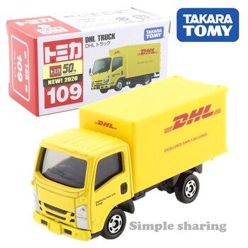 Takara Tomy Tomica No.109 DHL ciężarówka samochodów Hot Pop zabawki dla dzieci pojazdów silnikowych odlewany Metal Model