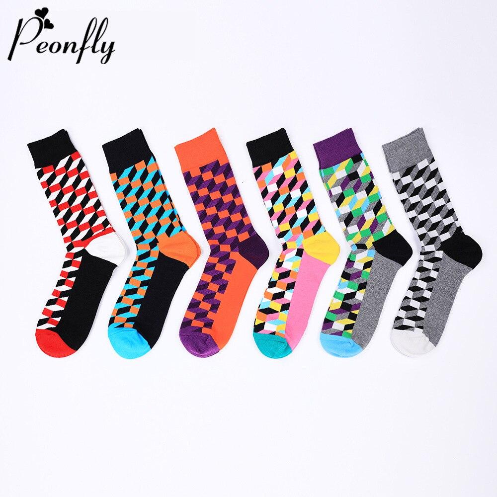 PEONFLY 1 Pair Autumn Winter Men Socks Harajuku Colorful Plaid Geometry Cotton Socks Men Trend Streetwear Skateboard Socks