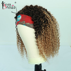 Image 2 - Curly Human Hair Wigs 4/27 Ombre Color Deep Curly Headband Half Wig Human Hair Brazilian Full Machine Made Wig Ever Beauty Remy