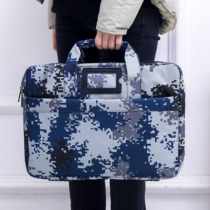 Large Capacity Hand File Holder Multilayer Briefcase Blue Camouflage Bag Waterproof Meeting Package