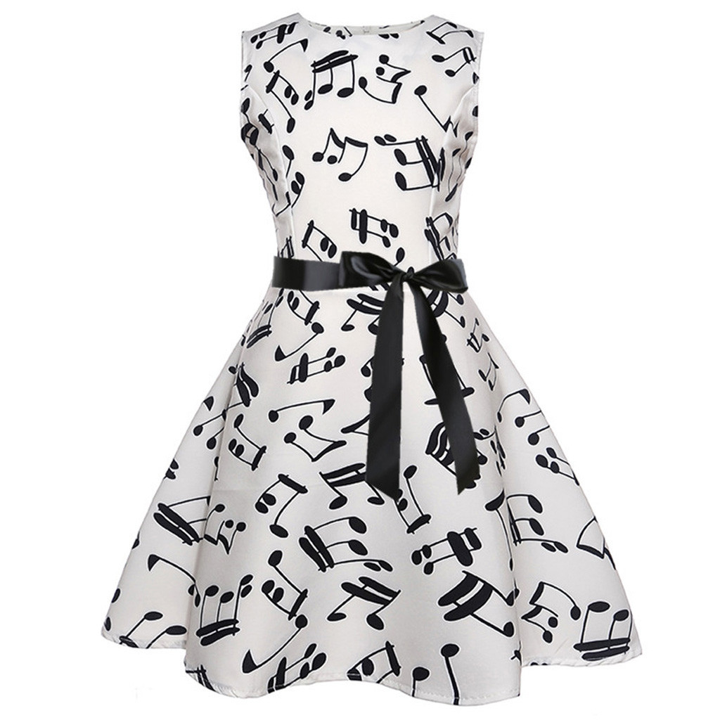 Girls Sleeveless Vintage Note Printed Princess Gown Prom Swing Dress  +1pc belt For Girl Costume Children Wedding Party Dress