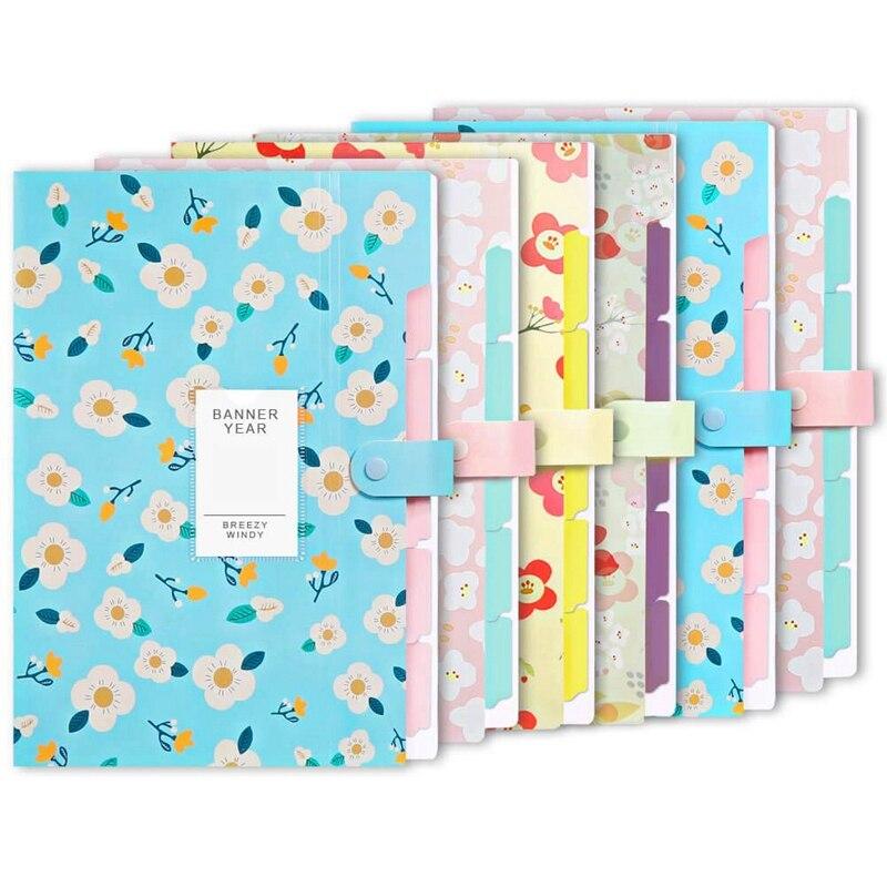 6Pcs File Storage Bag Extended Folder Storage Bag With 6 Pocket Plastic A4 Size Folder For School Teacher Office Documents