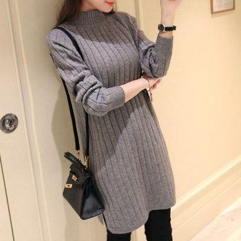 O-neck Knit Straight Sweater Dress 2019 Autumn Fashion Solid Color Simple Womens Long Sleeve Turtleneck Split Dress цена 2017