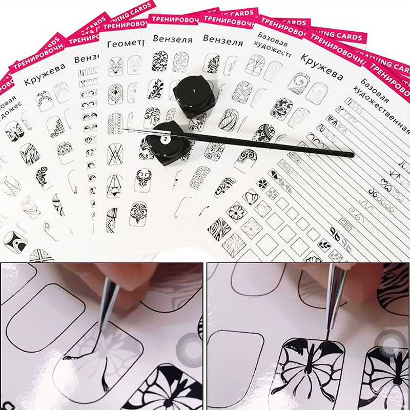 Nail Art Practice Lines Drawing Painting Template Learning Book Manicure Salon Tools Nails Accessoires