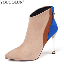 цены Pointed Toe Ankle Boots Women Autumn Winter Lady Shoes Fashion High Thin Heels A350 Woman Black Apricot Mixed Colors Style Boots