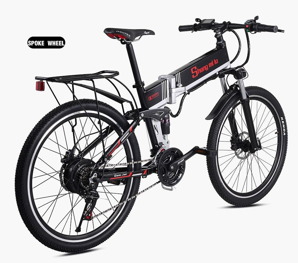 Новый электрический велосипед 21 Скорость 10AH 48V 350W 110 км встроенный литий ионный аккумулятор Байк, способный преодолевать Броды Электрический 26 внедорожный Электрический складной велосипед - 4