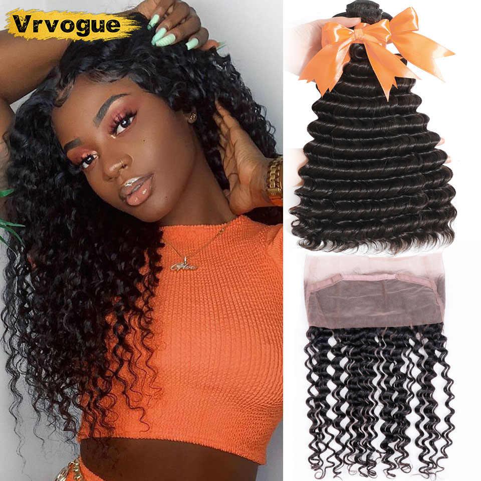 Vrvogue Haar Diepe Golf Bundels Met 360 Frontale Braziliaanse Remy Human Hair Bundels Inslag Pre Geplukt 360 Kant Frontale Met bundels
