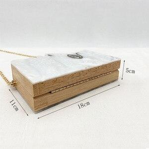 Image 5 - 2020 Wood Personality Splicing White Acrylic Retro Unique Half Face Hard Box Evening Bag Ridesmaid Handbag Luxury Clutch Purses