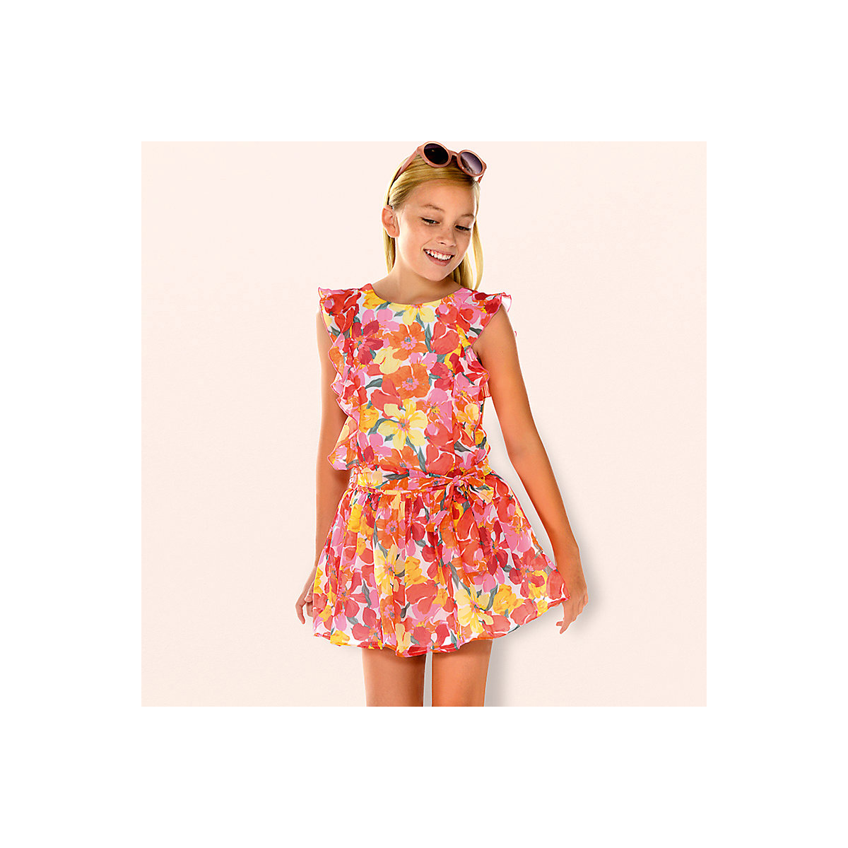 Фото - MAYORAL Dresses 10692726 Girl Children fitted pleated skirt Orange Polyester Casual Floral Knee-Length Sleeveless Sleeve new long communion dresses appliques crew neck sleeveless ball gown back v button flower girl dresses for wedding with bow sash