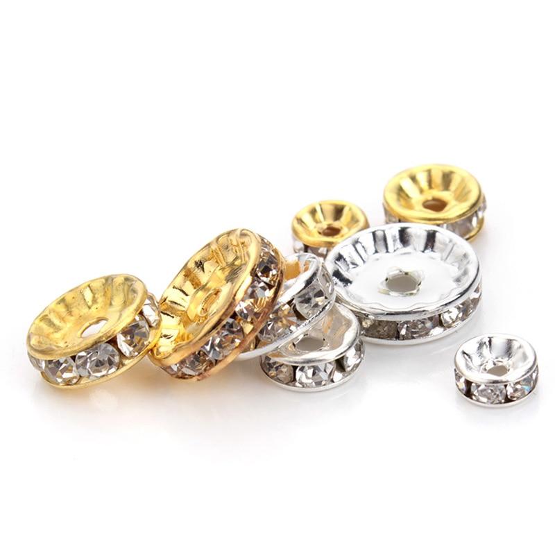 50 stücke 4 6 8 10 12mm Strass Kristall Perlen Rondelle Lose Spacer Perlen Für DIY Schmuck Machen Zubehör supplie Großhandel