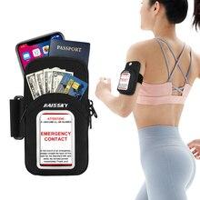 HAISSKY Sport In Esecuzione Braccio Sacchetto Per Il Fitness Allaperto a Portata di Mano Del Telefono Fascia da Braccio Del Sacchetto Con La Carta Di Emergenza Per il iPhone SE 2020 12 11 Pro Max