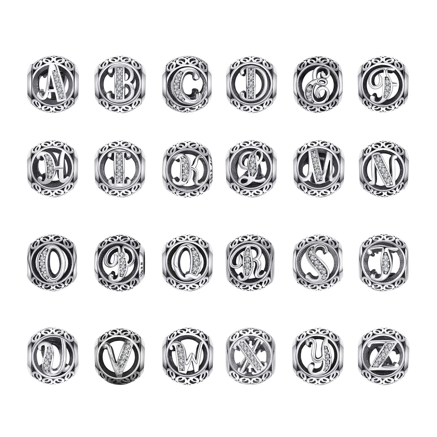 JewelryPalace Initial 925 Sterling Silber Vintage Alphabet Brief Perlen Charms Silber 925 Original-Fit Armbänder 925 Original