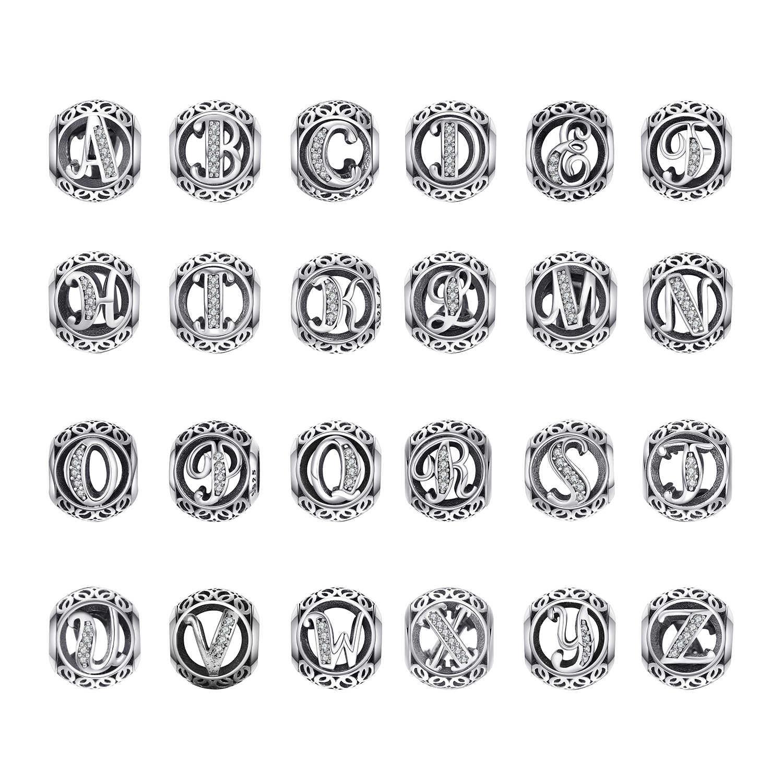 Jewelrypalace Ban Đầu Bạc 925 Vintage Bảng Chữ Cái Hạt Charm Bạc 925 Nguyên Bản Phù Hợp Với Vòng Tay 925 Nguyên Bản
