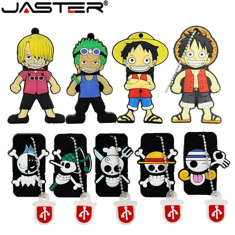 JASTER One Piece 64GB USB Flash Drive 4GB USB 2.0 Cartoon Luffy U Disk 16GB Flashdrive 32GB Pendrive 8GB 128GB USB Memory Stick