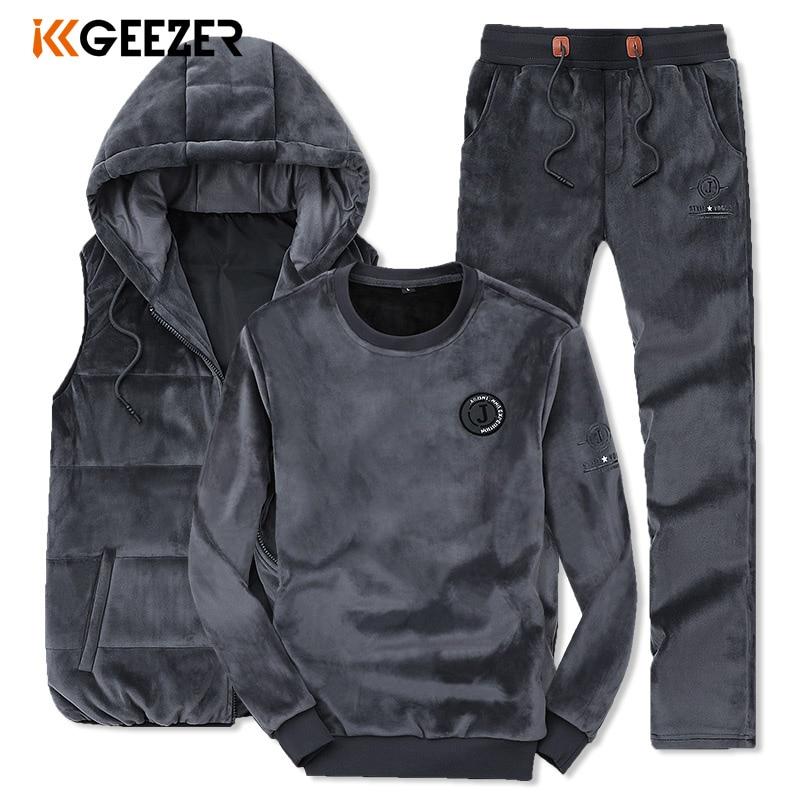 Men Sweatshirt Suit SweatPants Mens Winter Vests High Quality Coat Thick Pleuche Fabric Fashion Sport (Sweatshirt+Pants+Vest)