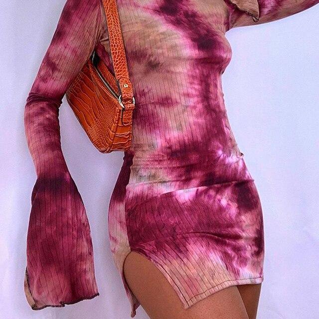 BIIKPIIKWomen Tie Dye Print Sexy Clubwear Dress Split Casual Women Mini Dresses Bodycon Party Wear Basic Streetwear 2021 Clothes 4
