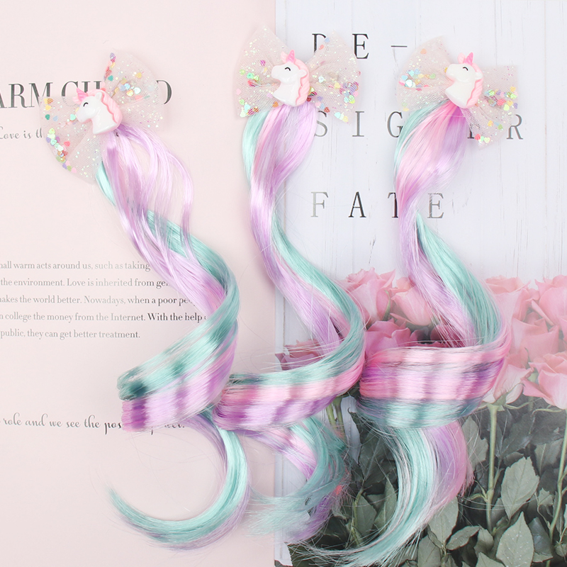 3Pcs/lot Children Pigtails Hair Clip For Girls Shiny Glitter Unicorn/Star/Hair Bows Hairpins Colorful Wig Hair Accessories