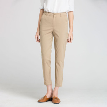 New Women Casual Spring Autumn Long Trousers Solid Elastic Waist Cotton Linen Pants Ankle Length Pants 3