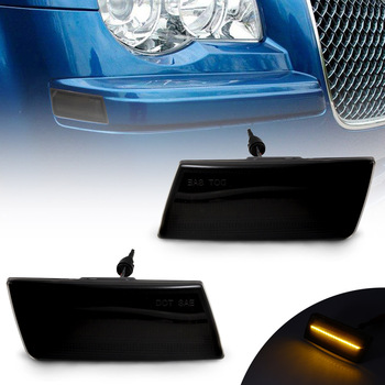 Smoked Lens LED Front Side Marker Light Turn Signal Lamp For Chrysler 300 2005-2010 OEM: 4805860AA 4805861AA 2010 2016 side mirror lamp for dodge caravan town country turn signal lamp for chrysler grand voyager marker lamps for ram c v
