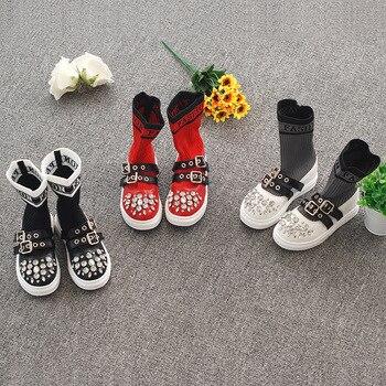 2019New fashion flying woven childrens socks shoes wild rhinestone casual tube single boots