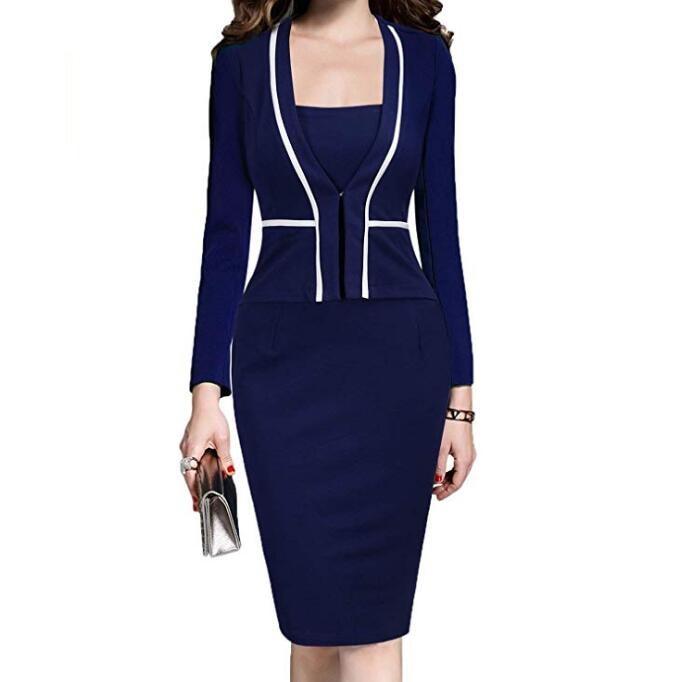Women Dress Suit Jacket Bodycon Ladies Office Dresses Formal Business Work Wear Elegant Midi Pencil Dress Classic Vintage Clothes Vestidos Female Large Plus Size WF8