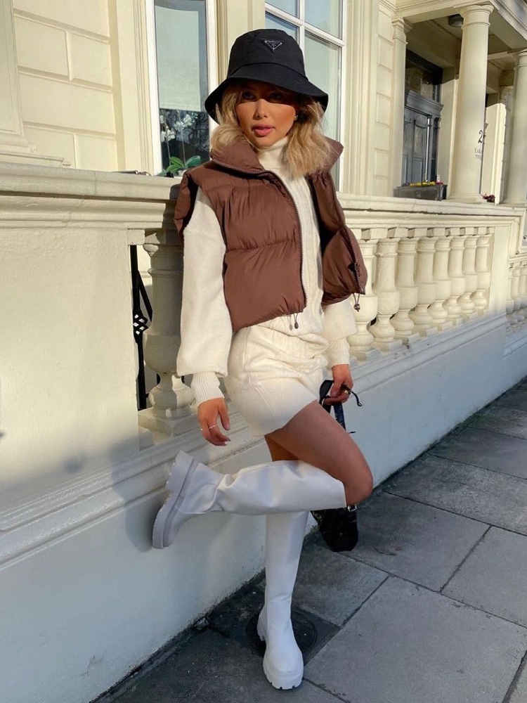 2021 Women Fashion Brown Cropped Vest Coat Female Stand Collar Zipper Waistcoat Ladies Casual Outerwear