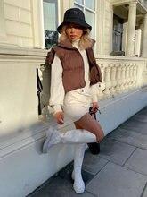 2021 moda feminina marrom recortado colete casaco feminino gola com zíper outerwear senhoras casuais
