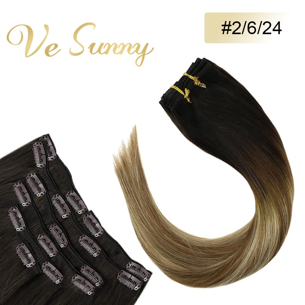 VeSunny Clip In Hair Extensions Human Hair 7pcs Clip On Extensions Balayage Ombre Dark Brown To Blonde Highlights #2/6/24 120gr
