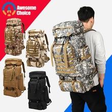 80L กันน้ำ MOLLE Camo ยุทธวิธีกระเป๋าเป้สะพายหลังทหารเดินป่าตั้งแคมป์กระเป๋าเป้สะพายหลัง Rucksack กีฬากลางแจ้งปีนเขากระเป๋า