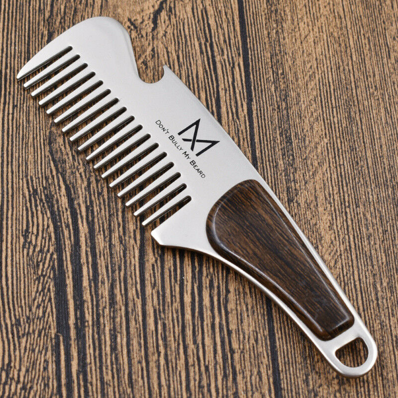 Beard Comb Mens Shaving Pocket Comb Portable Male Steel Mustache Brush Hair Styling Hairdressing Hair Cutting Tools
