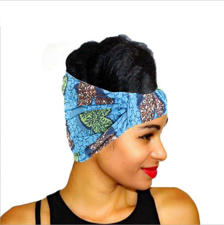 הדפס אפריקאי למתוח כותנה בגימור עבור נשים אלסטי בארה 'ב טורבן ראש צעיף גבירותיי תחבושת ראש גלישת שיער אבזרים