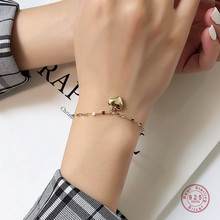 925 Sterling Silver Simple Niche Love Pendant Bracelet For Women Friendship Gift Girlfriends Student Jewelry Accessories