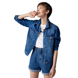 Image 3 - をセミール 100% 綿ショートデニムジャケットの女性の襟ガールボーイフレンドデニムジャケット胸ポケット傾斜ポケットシックなスタイル