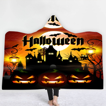 Custom DIY Print Pumpkin Skull Halloween Blanket Throw Soft Hooded Wearable Printed Travel Festival Winter Dropship
