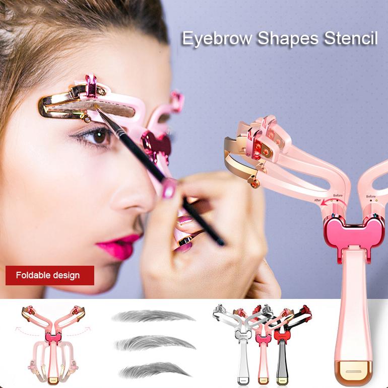 Reusable Mold Hand-held Adjustable Eyebrow Shapes Stencil 3 Colors DIY Eyebrow Shapes Template For Beginners In Makeup