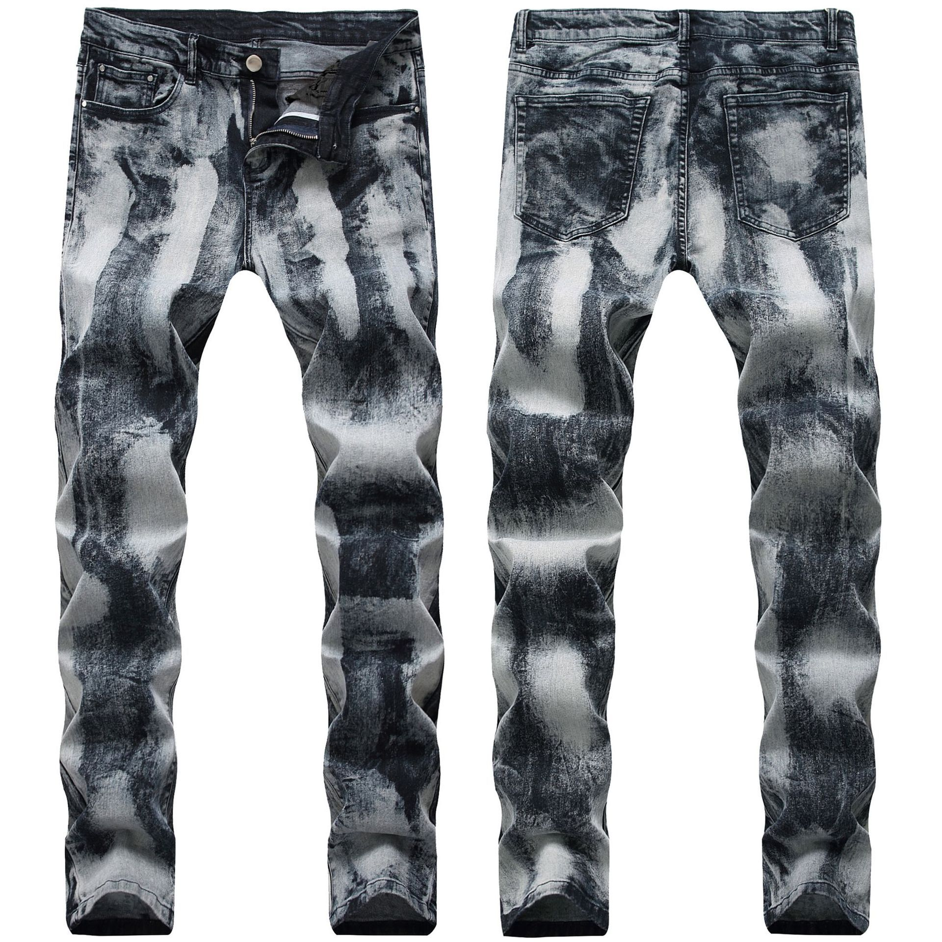MEN'S WEAR Slim Fit Elasticity Drag Color Jeans Men Dyeing Gold Silver Cowboy Trousers Hot Sales