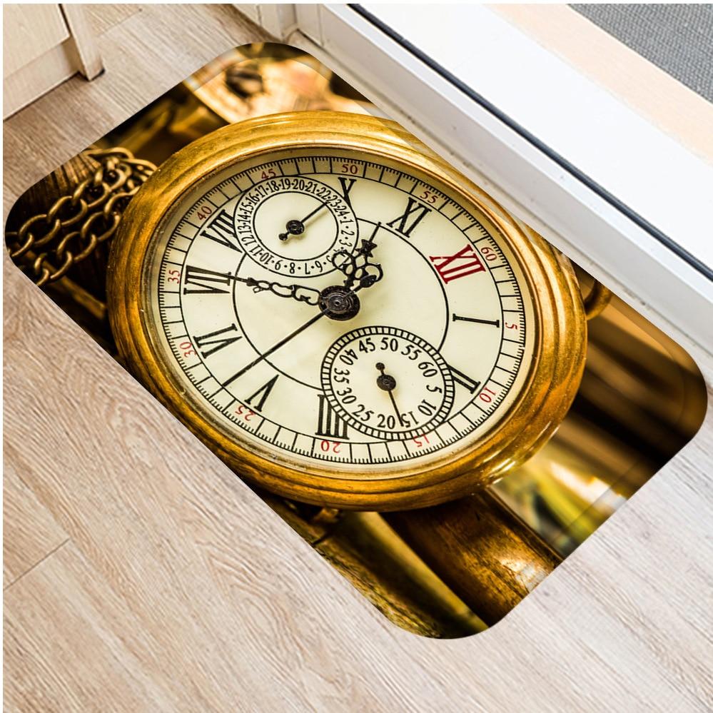 Image 3 - Classic Clock and Watch Style Interior Entrance Mat Non slip  Kitchen Mat Bathroom Non slip Mat Home Bedroom Floor Mat 40x60cm  .Rug