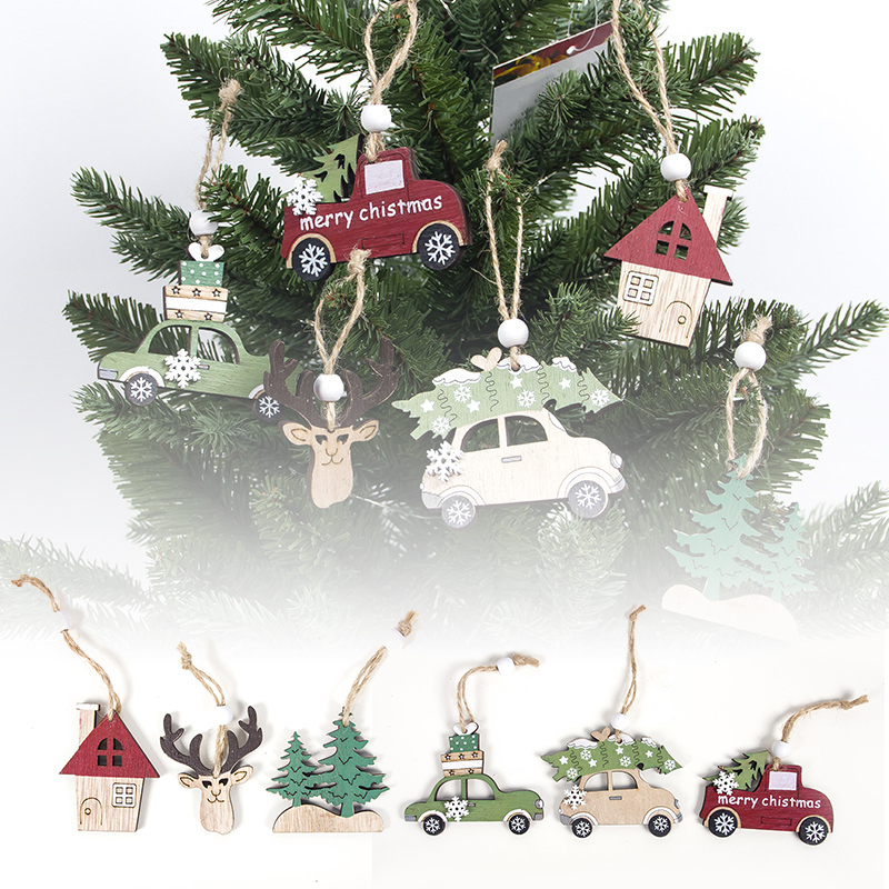 Festive Pendant Shop Christmas Cabin Creative Wooden Deer Car House Tree Attractive Enfeites De Natal image