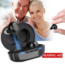 1 زوج USB قابلة للشحن صغيرة في الأذن المحمولة غير مرئية مساعدات للسمع مساعد قابل للتعديل لهجة مكبر صوت للمسنين الصم