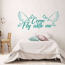 Come Fly With Me Romantic Couple Bedroom Wall Sticker Vinyl Home Decor Family Quotes Decals Removable Transfer Film Murals A362