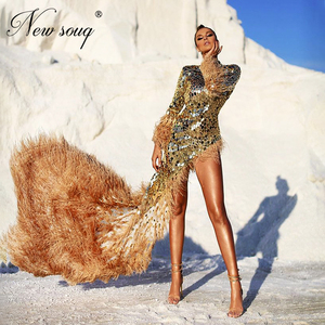Image 1 - Handmade Crystal Mermaid Evening Gowns Feathers Formal Dress Vestidos 2020 Arabic Dubai Beaded Prom Dresses Vetidos Customized