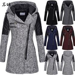 Płaszcz kobiet kobiet ciepła  Slim kurtka z długim rękawem gruby płaszcz zima znosić z kapturem  na suwak Plus rozmiar S-5XL płaszcz