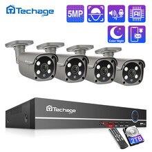 Techage H.265 4CH 5MP Poe Nvr Kit Cctv Systeem Twee Weg Audio Ai Ip Camera Ir Outdoor Waterdichte Video Security surveillance Set