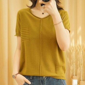 shintimes V-Neck Patchwork Solid Tee Shirt Femme Knitted Sweater T-Shirt Tops Women 2020 Summer T Womens T-Shirts