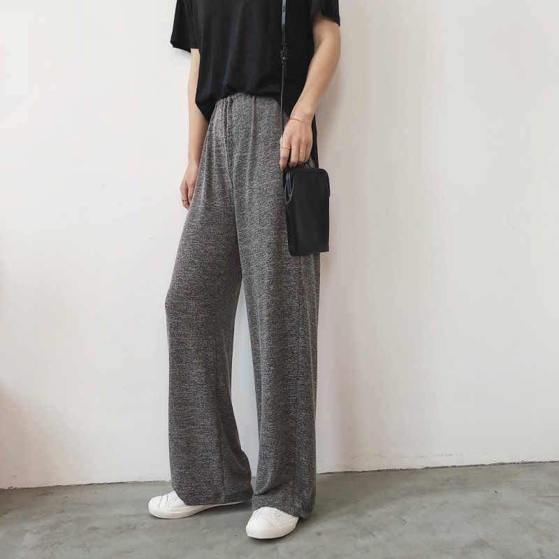 Pantalones Largos Sueltos De Punto De Algodon Suave Para Mujer Jersey Informal Gris De Verano Pantalones Largos Rectos Para Mujer Pantalones Y Pantalones Capri Aliexpress