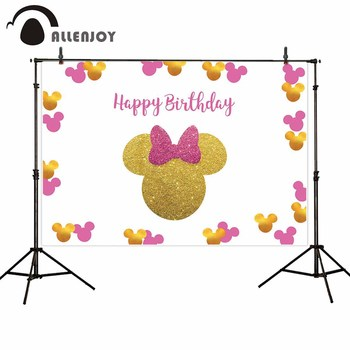 Allenjoy Mouse Birthday Party Photography Backdrop Golden Glitter Pink Bow-knot Girl Princess background photophone photocall allenjoy photography backdrop frozens wonderland forest snow queen birthday fairy tale party deco photo background photophone